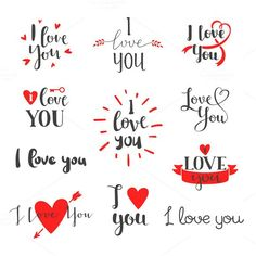 Vector I love You photo overlays, hand drawn lettering collection,. I Love You Lettering, Hand Drawn Lettering, I Love You Calligraphy, Lettering Styles, Lettering Tutorial, Thank You Messages Gratitude, Calligraphy Quotes Doodles, Calligraphy Fonts, L Love You