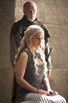 Emilia Clarke as Daenerys Targaryen and Ian McElhinney as Ser Barristan Selmy (Season 4, Episode 10)