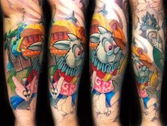 Luca Natalini - Alice in Wonderland White Rabbit Color Sleeve Tattoo