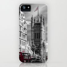 Red London Buses and Westminster Cathedral iPhone & iPod Case by Paul & Fe Photography - $35.00