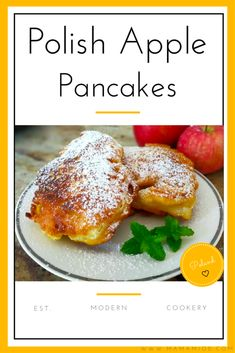 Background: Racuchy z jabłkami [ rah-tzu-hiy z ya-boo-kami]. I would not say that the exact term for this recipe is pancakes but rather a cross between pancakes and fritters. Lithuanian Recipes, Russian Recipes, Beignets, Breakfast Dishes, Breakfast Recipes, Polish Breakfast, Breakfast Cupcakes, Mexican Breakfast, Apple Pancake Recipe