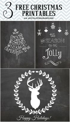3 Free Christmas Printables ||Upcycledtreasures