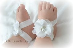 White Baby Barefoot Chiffon Flower Sandals for by BellaBumbleBee Baby Tutu, Baby Gown, Baby Sandals, Bare Foot Sandals, Baby Christening Dress, Baptism Dress, Baby Chanel, Crochet Baby Booties, Crochet Hats
