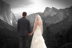 Beautiful photo of a bride and groom looking out over the mountains. Photo by @pesiriphoto
