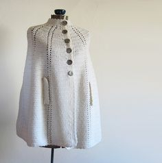vintage Snow White Cape with Abalone Shell Buttons Snow Pony, White Cape, Cowl Scarf, Crochet Poncho, Abalone Shell, Snow White, Shells, Scarves, Buttons