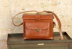 Distressed Industrial Vintage Leather Camera Bag, small Briefcase