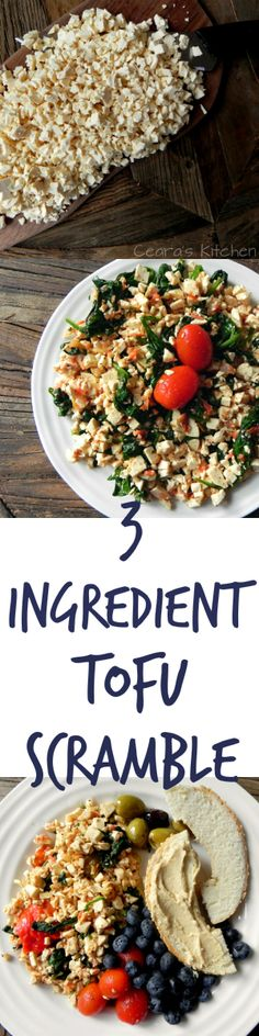 Easy Tofu Scramble made with only THREE ingredients! An easy + delicious high-protein, low fat + #HEALTHY #VEGAN breakfast!   - Ceara's Kitchen
