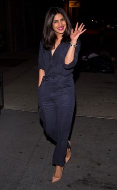 Priyanka Chopra from The Big Picture: Today's Hot Pics  The actress rocks a navy jumpsuit in the East Village in NYC.