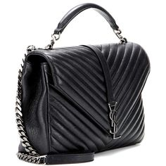 Saint Laurent Classic Large Collège Monogram Quilted Leather Shoulder... ($2,190) ❤ liked on Polyvore featuring bags, handbags, shoulder bags, shoulder handbags, monogrammed handbags, yves saint laurent shoulder bag, shoulder hand bags and shoulder bag purse