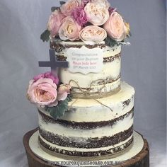 Naked Baptism cake. Loved the twine I this!