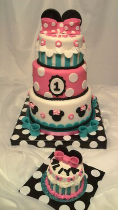 Minnie Mouse Bowtique couture cake. I made this cake for my Niece's 1st Birthday. (pink blue black white)