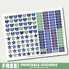 FREE printable planner stickers, STI-1000