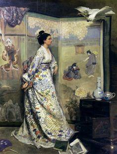 L'admiratrice du Japon c.1865 by Gustave Léonard de Jonghe (Belgian, 1829 - 1893)