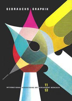 Heinz Schwabe, cover artwork for German design magazine Gebrauchsgraphik, 1953. Via ideenstadt
