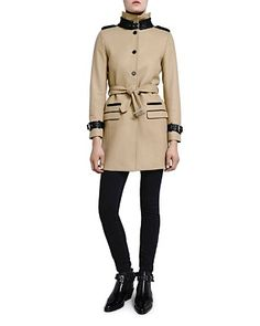 The Kooples Faux Leather Trim Trench Coat | Bloomingdale's
