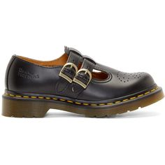 Dr. Martens Black Perforated Leather Mary Janes (9125 ALL) ❤ liked on Polyvore featuring shoes, black shoes, low top, mary-janes, wing tip shoes and wingtip shoes
