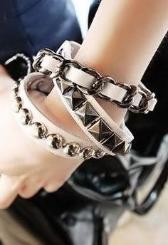 White Punk Bracelets <3