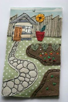 Embroidery Silk Ribbon appliqued fabric collage using machine and hand embroidery. Nice use of thread sketching to create texture in the walkway and fence. Freehand Machine Embroidery, Free Motion Embroidery, Free Machine Embroidery, Free Motion Quilting, Applique Quilts, Embroidery Applique, Embroidery Designs, Fabric Cards, Fabric Postcards
