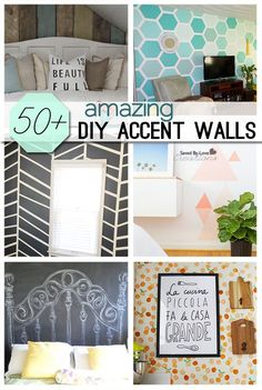 50 Plus Awesome Accent Walls - from patterned accent walls to easy art displays, lots of ideas