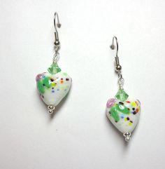 White Lampwork Heart Earrings//Pink Green Blue Hearts//Swarovski Austrian Crystals//Spiritcatdesigns//Bridesmaid Gift//Dangle Earrings by SpiritCatDesigns on Etsy