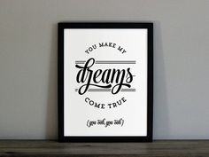 Hall and Oates Custom Color Poster - You Make My Dreams Come True Lyrics