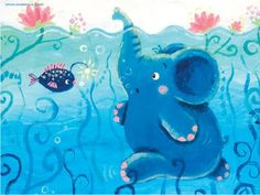 Items similar to Underwater Adventure - archival medium print - Rondy the Elephant exploring sea - Oksancia on Etsy Elephant Doodle, Image Elephant, Elephant Images, Elephant Walk, Elephant Love, Little Elephant, Elephant Gun, Elephant Stuff, Elephant Illustration
