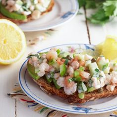 Norwegian shrimp salad with cucumber and fresh lemon juice, perfect on an open-faced sandwich.