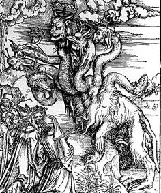 Woman Clothed with the Sun and the Seven-headed Dragon, woodcut by Albrecht Durer, German, 1471-1528, from the Apocalypse series. This work is in the Staatliche Kunsthalle Karlsruhe, which is the State Art Gallery in Germany.
