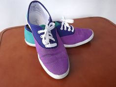 Vintage 1980s Tennis Shoes Blue Purple and Teal by ForsythiaHill, $18.00