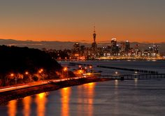 Auckland City Skyline, from Tamaki Drive - Casey would see this view when she returns home along the path of her daily run.