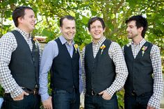 great idea for a casual wedding to have the guys wear jeans and a vest instead of a tux....love it! if I'm wearing my pink chucks under my dress, I can compromise that he can  wear his buckle jeans.