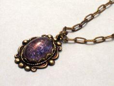 Amethyst Purple Moonstone Pendant Brass Necklace