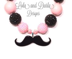 Mustache necklace chunky necklace pink and black necklace girls necklace birthday necklace via Etsy 9th Birthday Parties, 13th Birthday, Girl Birthday, Birthday Ideas, Mustache Birthday, Mustache Party, Moustache Ride, Fun Ideas, Party Ideas