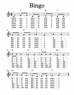 Free Sheet Music for Bingo. Easy Piano Sheet Music, Free Sheet Music, Piano Music, Music Sheets, Easy Piano Songs, Kids Songs, Clarinet Sheet Music, Bass Clarinet, Trumpet Music