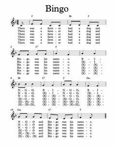 Free Sheet Music for Bingo. Children�s Song. Enjoy!