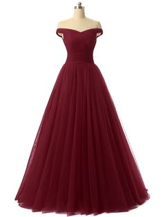 Off Shoulder Tulle Simple Prom Dresses,Long Cheap Dress