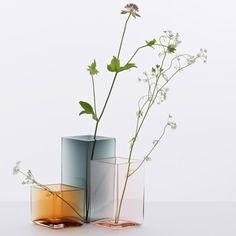 Bouroullec brothers design minimal coloured Ruutu vases for Iittala