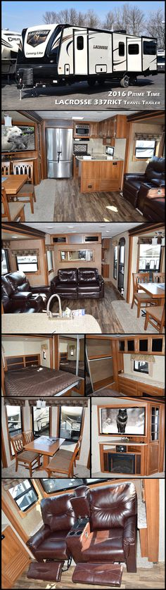 Enjoy every camping experience in the 2016 PRIME TIME LACROSSE 337RKT travel trailer with its triple slides for added interior space. The large master bedroom in the front has a walk-in wardrobe, dresser and king-size bed. The RV's main living area features a hide-a-bed sofa, a free-standing dinette, theater seating and a full entertainment center. The rear kitchen with wrap-around bar gives it a more residential feel for travelers who want to live a full-time RV lifestyle.