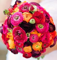 Mixed ranunculus wedding bouquet. Design by Tribal Rose, Fitzroy Victoria. Photographed by Luke Lornie, 2012.