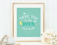 Love You to Moon Nursery Decor Printable Quote Postcard To