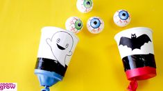 If you are stuck for some fun Halloween game ideas, why not get the kids to make these scary and fun ping pong eyeball shooters? Halloween Carnival Games, Halloween Class Party, Halloween Games For Kids, Halloween Activities, Halloween Projects, Craft Activities For Kids, Holidays Halloween, Halloween Decorations, Halloween Trophies