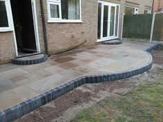 Indian stone patio.  #marshalls #indianstone #paving #patio Small Garden Layout, Small Garden Design, Garden Paving, Garden Landscaping, Garden On A Hill, Home And Garden, Bifold Doors Onto Patio, Garden Projects, Garden Ideas