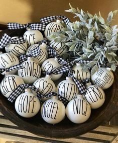 Rae Dunn Inspired Christmas Ornaments//Farmhouse Ornaments//Set of 12 – Unique Christmas Decorations DIY Black Christmas Trees, Plaid Christmas, Christmas Tree Decorations, Christmas Tree Ornaments, Christmas Crafts, Merry Christmas, Glass Ornaments, Diy Ornaments, Christmas Pictures