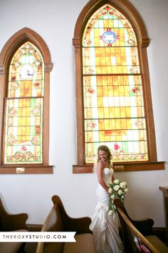 Photography by Samantha McGranahan, The Roxy Studio. Wedding photography, wedding photos, bridal portraits, stained glass, church, wedding gown