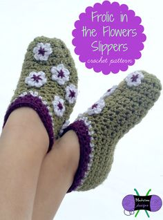 Frolic in the Flowers Slippers crochet pattern featured in Happily Hooked Magazine Issue #13, April 2015.
