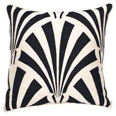 Art Deco Pillow II in Ivory & Black