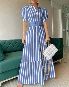 Dress Shirts For Women, Summer Dresses For Women, Blue Dresses, Casual Dresses, Maxi Dresses, Types Of Dresses, Dress Outfits, Fashion Dresses, Marine Uniform