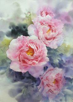 Super ideas for flower art abstract beautiful Watercolor Artists, Watercolor Rose, Artist Painting, Watercolour Painting, Painting Abstract, Abstract Flowers, Botanical Art, Abstract Landscape, Flower Art