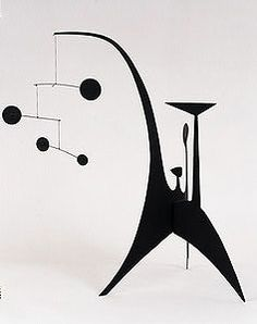 """Calder, Stabile with Mobile Element, c. 1940  Sheet metal, string, and paint  24 1/4"""" x 23""""  Private Collection, New York  A08030"""