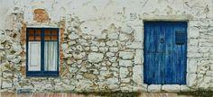 Aquarel.la paret blanca i portal blau